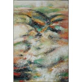 y16018 - 畫作系列 - 油畫 - 油畫抽象系列- 極光系列(手繪)-極光十二