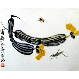 y15928複製畫-複製畫水墨畫系列-齊白石絲瓜圖