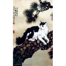 y15929複製畫-複製畫水墨畫系列-徐悲鴻-貓