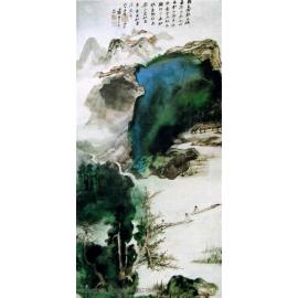 y15932複製畫-複製畫水墨畫系列-張大千-高岩古寺