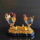 Y16369-水晶雞 大全家福+木座/ 琉璃水晶玻璃-水晶飾品系列