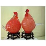 藝術玻璃-小雞燈一對  y12347 水晶飾品系列 桌燈 小雞燈一對 紫色(茶)
