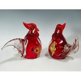 玻璃水晶 紅色金箔雞(一對)  y12766 水晶飾品系列