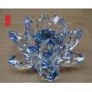 七品水晶蓮花擺飾-藍色) y13756  水晶飾品系列 七品水晶蓮花擺飾- 藍色 (共七色)