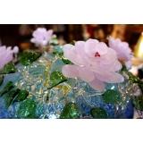 y15686  琉璃水晶玻璃 - 玻璃飾品系列 -茶花造形聚寶盆