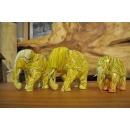 熱帶香蕉彩繪木雕大象家族(三入)-y15160-木雕(已售出)--可預購