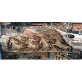 y15640木.竹.根雕  -木雕壁飾-八駿馬