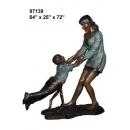 銅雕系列-銅雕大型擺飾-母與子 y14138 立體雕塑.擺飾 人物立體擺飾系列-西式人物系列