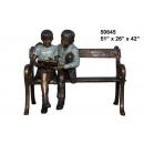 銅雕系列-銅雕大型擺飾-姐弟看書椅 y14143  立體雕塑.擺飾 人物立體擺飾系列-西式人物系列