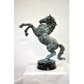 y14194 銅雕系列- 銅雕動物 - 銅雕大躍馬(銅綠色)-顏色可訂製*