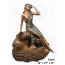 銅雕系列-銅雕人物-嫵媚女孩 y14218 立體雕塑.擺飾 人物立體擺飾系列-西式人物系列