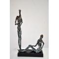 y14272 銅雕系列- 銅雕人物 - 銅雕談天*