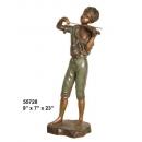 銅雕人物-拉提琴男孩 y14416 立體雕塑.擺飾 立體雕塑系列-人物雕塑系列