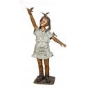 女孩與鳥(y14690 銅雕系列- 銅雕大型擺飾、銅雕人物 )