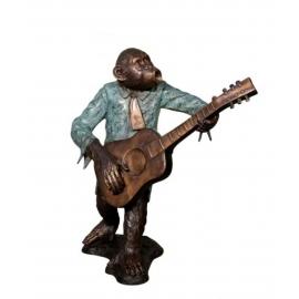 猴子樂隊-吉他手(y14708 銅雕系列- 銅雕大型擺飾、銅雕動物 )