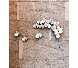 y14399 鐵材藝術 - 鐵雕壁飾系列 - 銀色蘭花枝壁飾-銀箔(內含3多分開的花朵)另有不同顏色