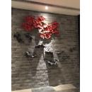 紅色泡泡鐵藝壁飾+陶瓷魚壁飾組-y15496-鐵雕壁飾系列-鐵材藝術