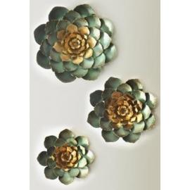 y15826 鐵材藝術 鐵雕壁飾系列 蓮花造型壁飾(3入一組)