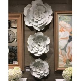 y15854 鐵材藝術 鐵雕壁飾系列 金邊白蓮壁飾(3入一組)