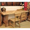 y13357 傢俱系列-創意造型風化傢俱-兩件組木餐桌椅書桌