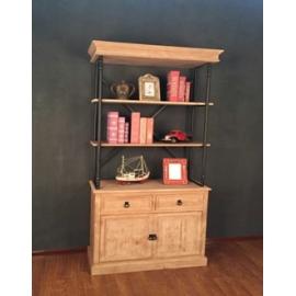 y15797傢俱系列 - 原木鍛鐵家俱 -鐵木立式五層開門櫃