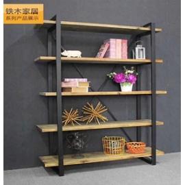 y15799傢俱系列 - 原木鍛鐵家俱 -井形五層架