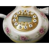 y13430 白色圓底粉紫玫瑰復古電話