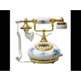 y13431 白色圓底藍玫瑰復古電話(無庫存)