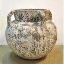 落灰陶落地花器 y15033 -花器系列-落灰陶 白風化反口弧形花瓶