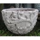 落灰陶花器 y15034 -花器系列-落灰陶 白沙風化弧形藤紋