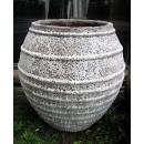 落灰陶花器 y15037 -花器系列-落灰陶 沙秞橫紋弧形甕-1號