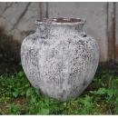 落灰陶落地花器 y15032 -花器系列-落灰陶 沙釉反口大弧形甕