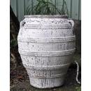 落灰陶花器 y15038 -花器系列-落灰陶 沙釉橫紋弧形甕