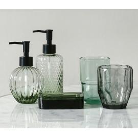 現代簡約綠色玻璃洗手乳罐-y16319 洗手間衛浴.室內拖鞋- 衛浴用具(香皂盒.漱口杯.浴室洗手間用品擺件)