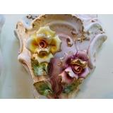 y09898義大利陶瓷粉玫瑰壁掛花器