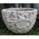 y14073 -花器系列-古樸陶瓷 - 落灰陶( 白沙風化弧形藤紋-小)