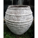 y14074 -花器系列-古樸陶瓷- 落灰陶 (沙秞橫紋弧形甕-1號)