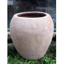y14078 -花器系列-古樸陶瓷  風化陶平口甕形