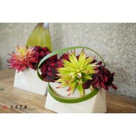 y15874 自然風多肉植物小盆造型花藝設計 茶几桌上擺飾 會場佈置 (花藝設計-小品盆花 )