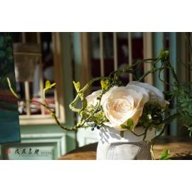 y15876 田園玫瑰造型花藝設計 茶几桌上擺飾 會場佈置 (花藝設計-小品盆花 )