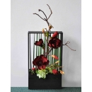 y14401 花藝設計- 玄關桌.電視櫃盆花 - 黑木框造型花藝設計