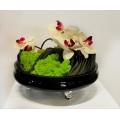 圓黑玻璃造型花藝設計 (y14559花藝設計- 玄關桌.電視櫃盆花)
