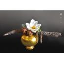 日式禪風花藝_金瓶枯枝白蓮花(y14670 花藝設計- 玄關桌.電視櫃盆花 - 造型花藝設計)