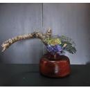古紅色鐵藝花器+綠玫瑰y15324-花藝設計.花材果樹