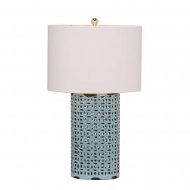 y15998 燈飾.電扇系列 - 桌燈 -藍色縷空陶瓷桌燈