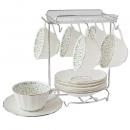 y16047 餐具器皿 咖啡茶具-朵莉新骨瓷咖啡六杯盤組附金架