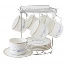 y16048 餐具器皿 咖啡茶具-韋格納新骨瓷咖啡六杯盤組附金架