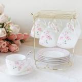 y16049 餐具器皿 咖啡茶具-艾莉絲骨瓷咖啡六杯盤組附金架