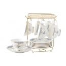 y12514 餐茶器皿-咖啡茶具-英式花茶下午茶骨瓷茶具整套咖啡具咖啡杯碟-馨語新骨瓷杯盤組金架