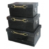 白色金鍊收纳箱-套3 (y14679 樣品書、電視、道具- 道具商品)